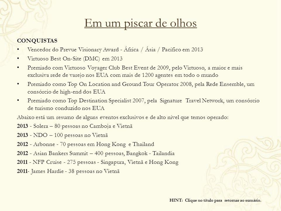 Em um piscar de olhos CONQUISTAS Vencedor do Prevue Visionary Award - África / Ásia / Pacífico em 2013 Virtuoso Best On-Site (DMC) em 2013 Premiado co