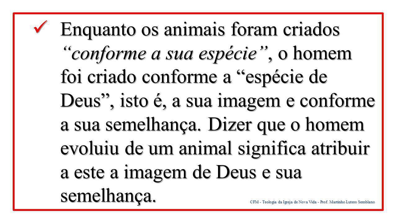 """CFM - Teologia da Igreja de Nova Vida - Prof. Martinho Lutero Semblano Enquanto os animais foram criados """"conforme a sua espécie"""", o homem foi criado"""