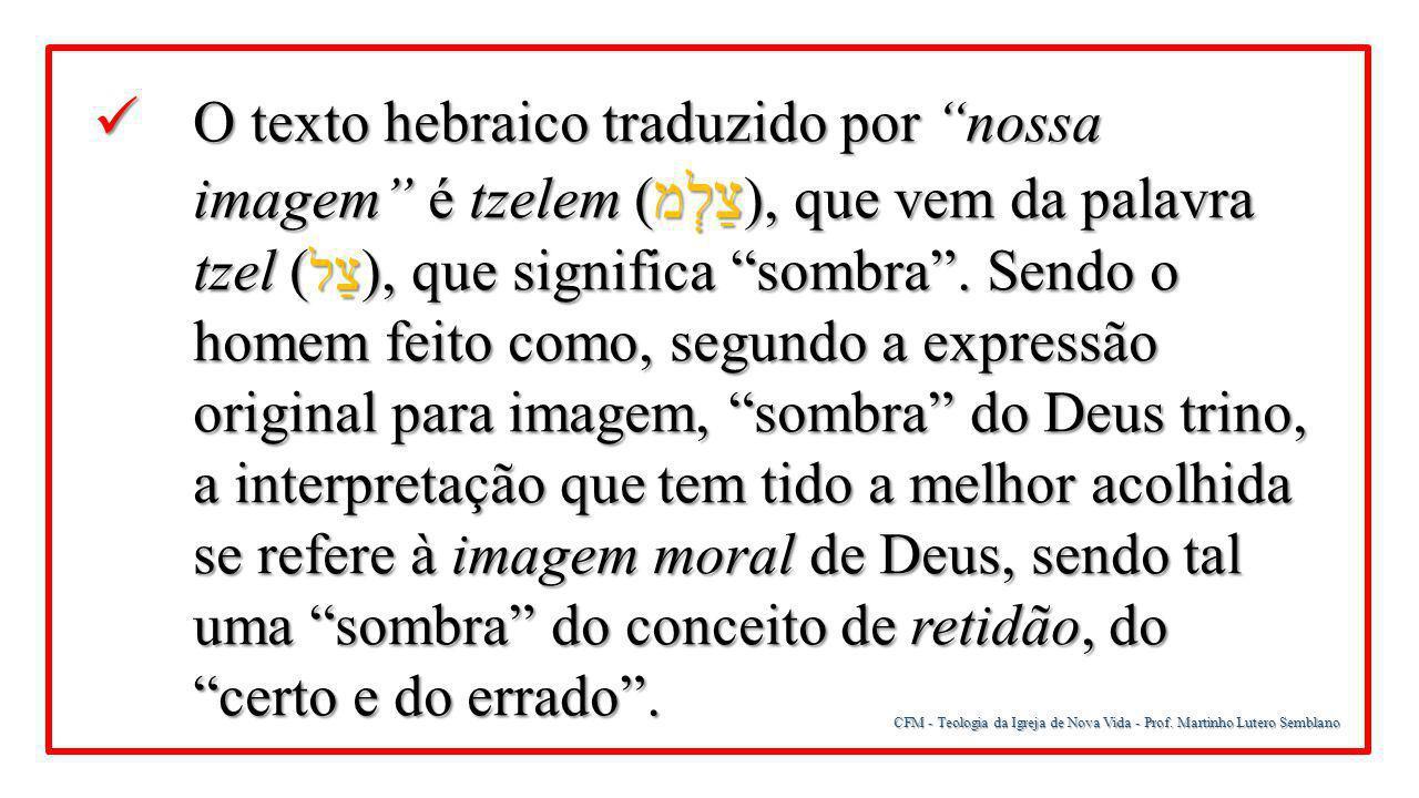 """CFM - Teologia da Igreja de Nova Vida - Prof. Martinho Lutero Semblano O texto hebraico traduzido por """"nossa imagem"""" é tzelem ( צַלְמ ), que vem da pa"""