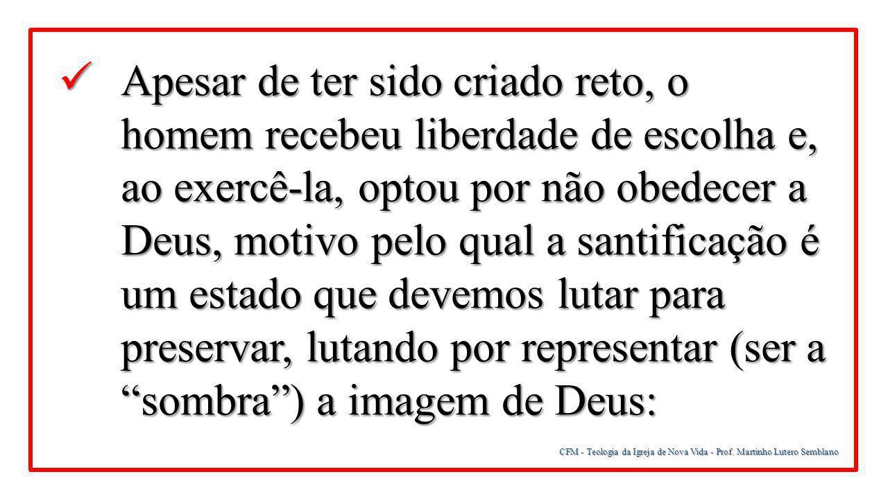 CFM - Teologia da Igreja de Nova Vida - Prof. Martinho Lutero Semblano Apesar de ter sido criado reto, o homem recebeu liberdade de escolha e, ao exer