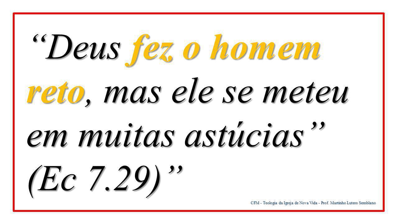 """CFM - Teologia da Igreja de Nova Vida - Prof. Martinho Lutero Semblano """"Deus fez o homem reto, mas ele se meteu em muitas astúcias"""" (Ec 7.29)"""""""