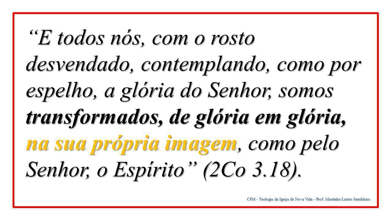 """CFM - Teologia da Igreja de Nova Vida - Prof. Martinho Lutero Semblano """"E todos nós, com o rosto desvendado, contemplando, como por espelho, a glória"""