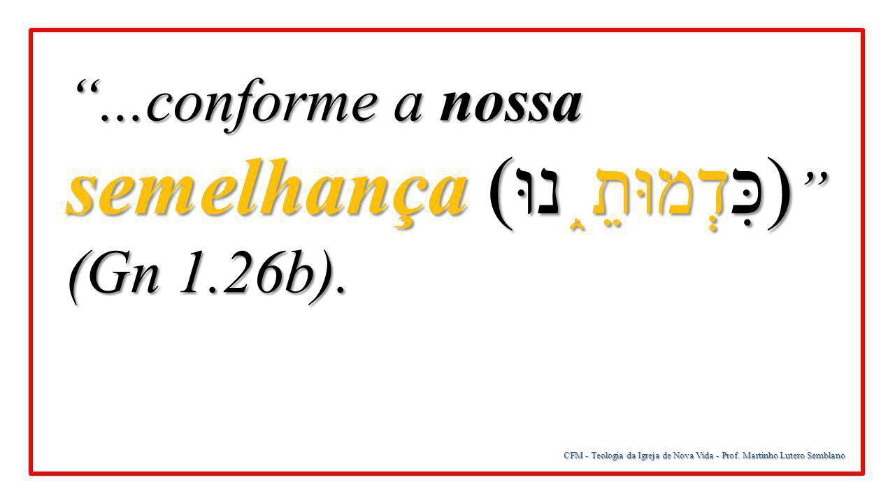 """CFM - Teologia da Igreja de Nova Vida - Prof. Martinho Lutero Semblano """"...conforme a nossa semelhança ( כִּדְמוּתֵ ֑ נוּ) """" (Gn 1.26b)."""