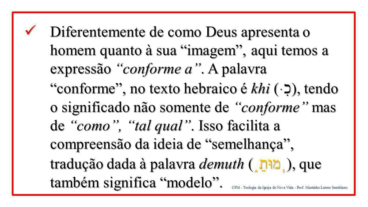 """CFM - Teologia da Igreja de Nova Vida - Prof. Martinho Lutero Semblano Diferentemente de como Deus apresenta o homem quanto à sua """"imagem"""", aqui temos"""