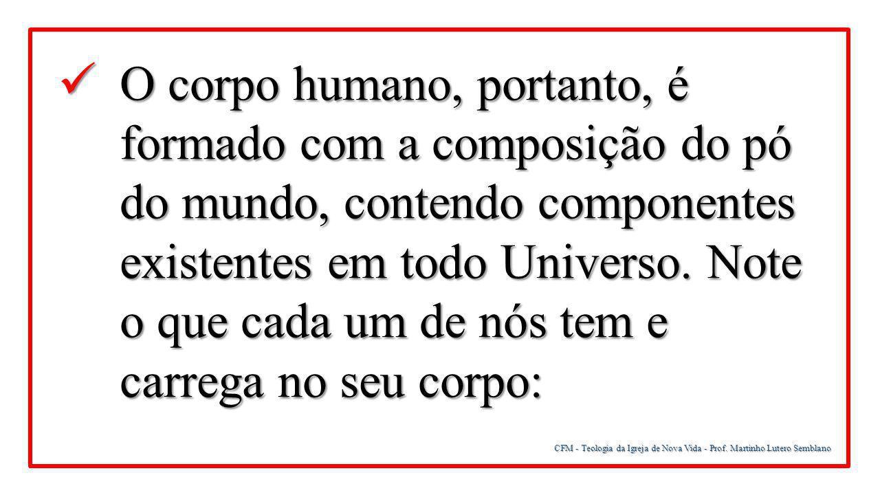 CFM - Teologia da Igreja de Nova Vida - Prof. Martinho Lutero Semblano O corpo humano, portanto, é formado com a composição do pó do mundo, contendo c
