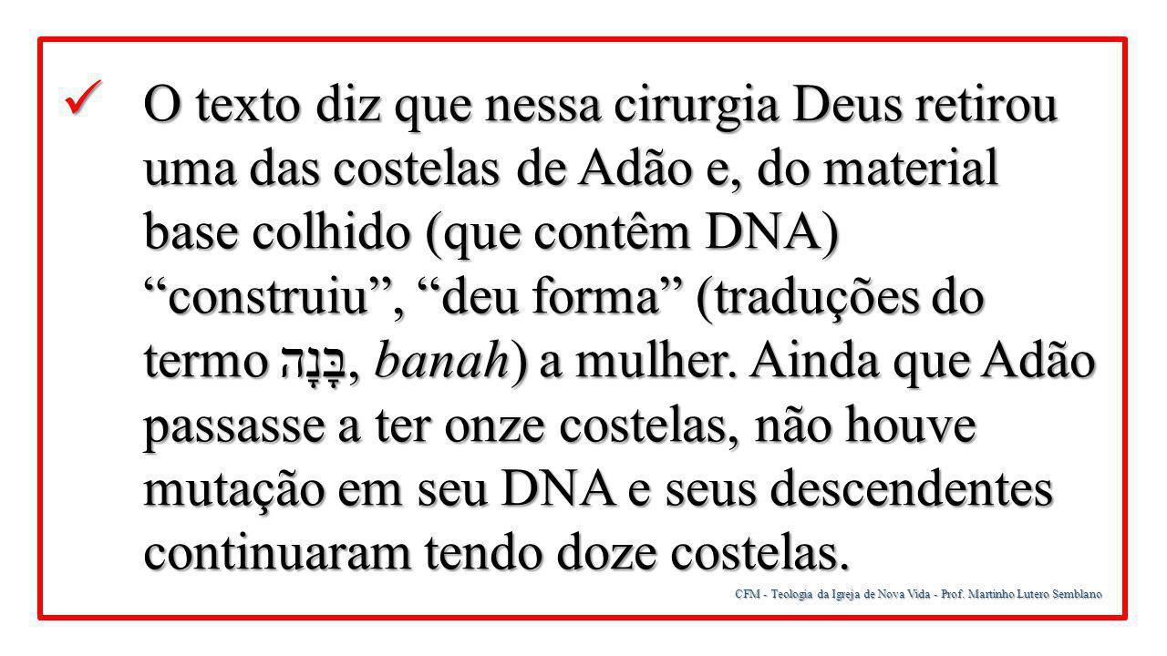 CFM - Teologia da Igreja de Nova Vida - Prof. Martinho Lutero Semblano O texto diz que nessa cirurgia Deus retirou uma das costelas de Adão e, do mate