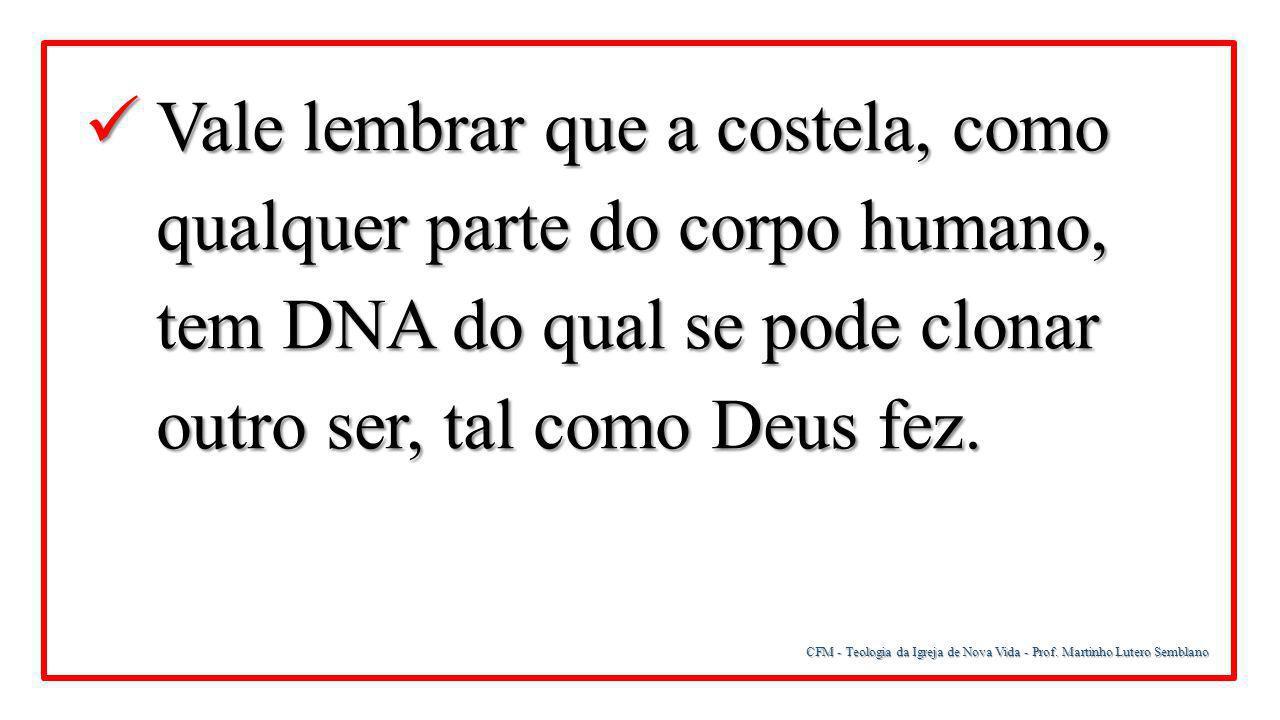 CFM - Teologia da Igreja de Nova Vida - Prof. Martinho Lutero Semblano Vale lembrar que a costela, como qualquer parte do corpo humano, tem DNA do qua