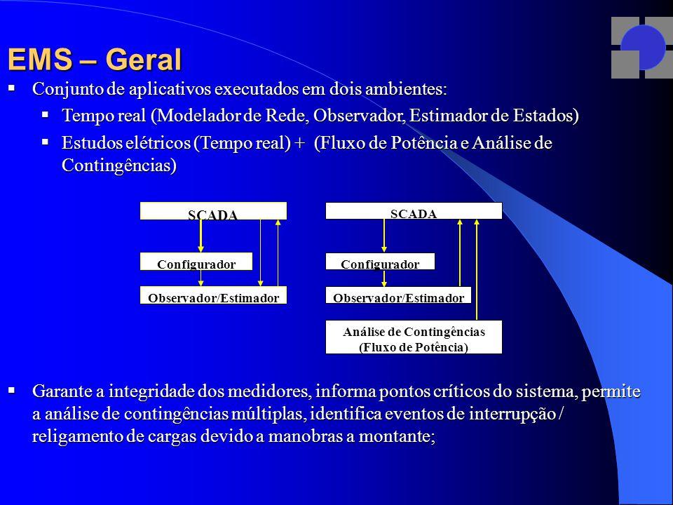EMS – Geral  Conjunto de aplicativos executados em dois ambientes:  Tempo real (Modelador de Rede, Observador, Estimador de Estados)  Estudos elétricos (Tempo real) + (Fluxo de Potência e Análise de Contingências)  Garante a integridade dos medidores, informa pontos críticos do sistema, permite a análise de contingências múltiplas, identifica eventos de interrupção / religamento de cargas devido a manobras a montante; Configurador SCADA Configurador Observador/Estimador SCADA Observador/Estimador Análise de Contingências (Fluxo de Potência)