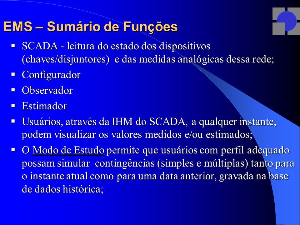 EMS – Sumário de Funções  SCADA - leitura do estado dos dispositivos (chaves/disjuntores) e das medidas analógicas dessa rede;  Configurador  Obser