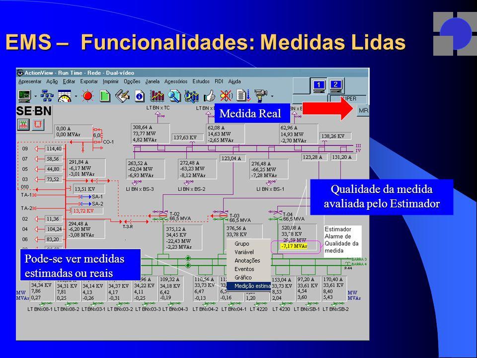 EMS – Funcionalidades: Medidas Lidas Medida Real Qualidade da medida avaliada pelo Estimador Pode-se ver medidas estimadas ou reais