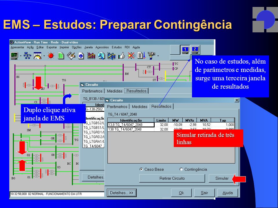 EMS – Estudos: Preparar Contingência Simular retirada de três linhas Duplo clique ativa janela de EMS No caso de estudos, além de parâmetros e medidas, surge uma terceira janela de resultados