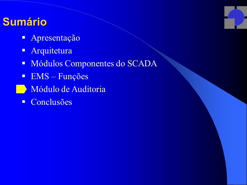 Sumário  Apresentação  Arquitetura  Módulos Componentes do SCADA  EMS – Funções  Módulo de Auditoria  Conclusões