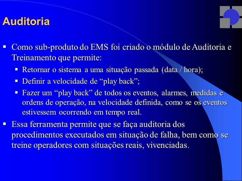 Auditoria  Como sub-produto do EMS foi criado o módulo de Auditoria e Treinamento que permite:  Retornar o sistema a uma situação passada (data / hora);  Definir a velocidade de play back ;  Fazer um play back de todos os eventos, alarmes, medidas e ordens de operação, na velocidade definida, como se os eventos estivessem ocorrendo em tempo real.