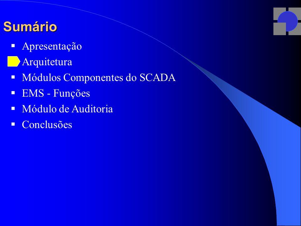 Sumário  Apresentação  Arquitetura  Módulos Componentes do SCADA  EMS - Funções  Módulo de Auditoria  Conclusões