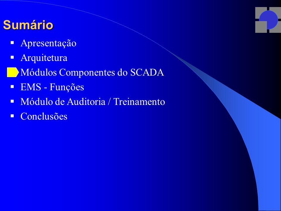 Sumário  Apresentação  Arquitetura  Módulos Componentes do SCADA  EMS - Funções  Módulo de Auditoria / Treinamento  Conclusões
