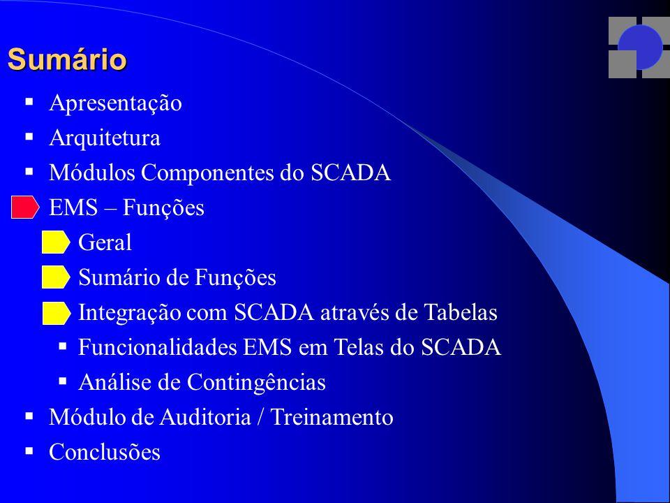 Sumário  Apresentação  Arquitetura  Módulos Componentes do SCADA  EMS – Funções  Geral  Sumário de Funções  Integração com SCADA através de Tabelas  Funcionalidades EMS em Telas do SCADA  Análise de Contingências  Módulo de Auditoria / Treinamento  Conclusões