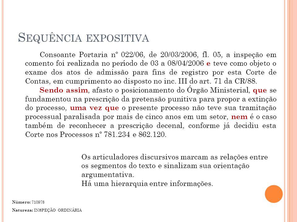 S EQUÊNCIA EXPOSITIVA Consoante Portaria nº 022/06, de 20/03/2006, fl.