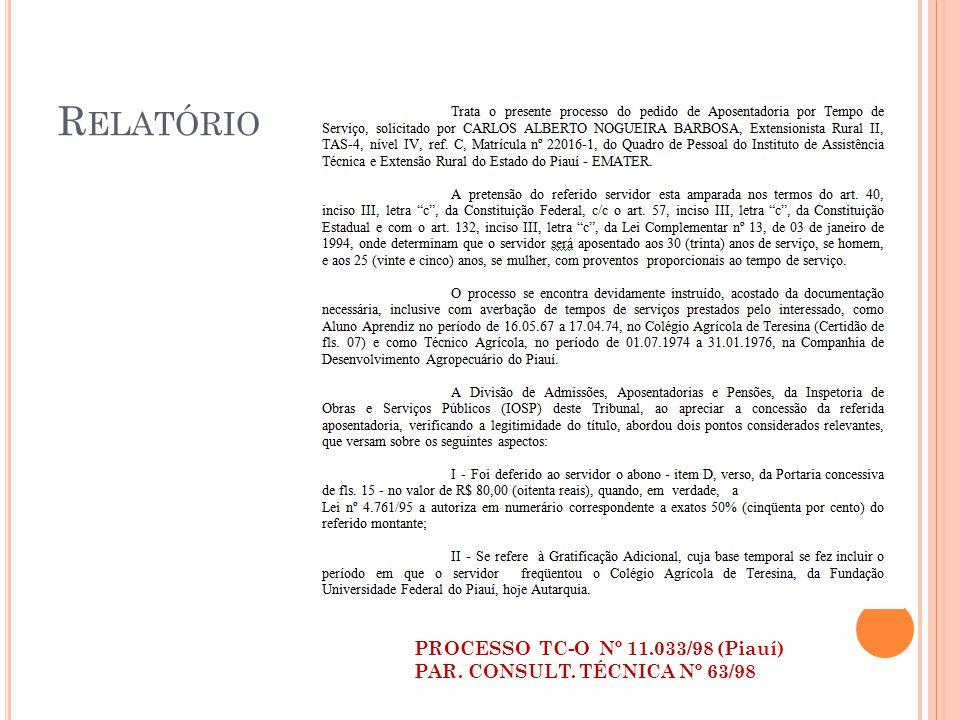 R ELATÓRIO PROCESSO TC-O Nº 11.033/98 (Piauí) PAR. CONSULT. TÉCNICA Nº 63/98
