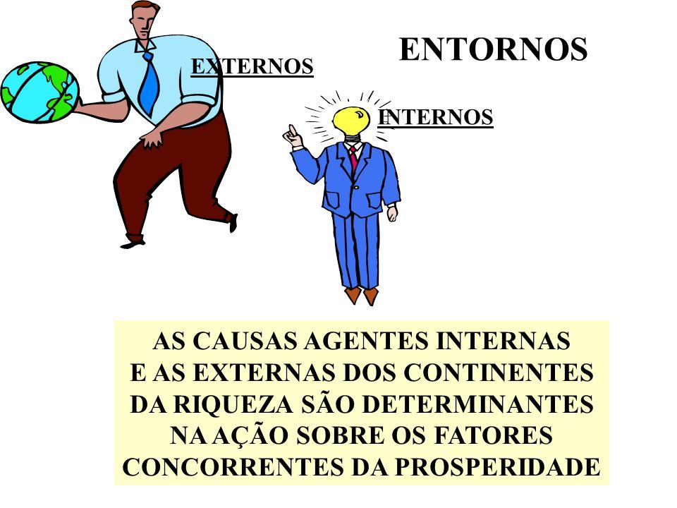 ENTORNOS AS CAUSAS AGENTES INTERNAS E AS EXTERNAS DOS CONTINENTES DA RIQUEZA SÃO DETERMINANTES NA AÇÃO SOBRE OS FATORES CONCORRENTES DA PROSPERIDADE EXTERNOS INTERNOS