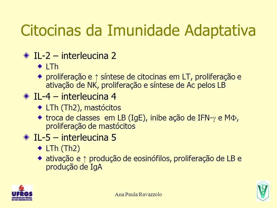 Citocinas da Imunidade Adaptativa IL-2 – interleucina 2 LTh proliferação e ↑ síntese de citocinas em LT, proliferação e ativação de NK, proliferação e
