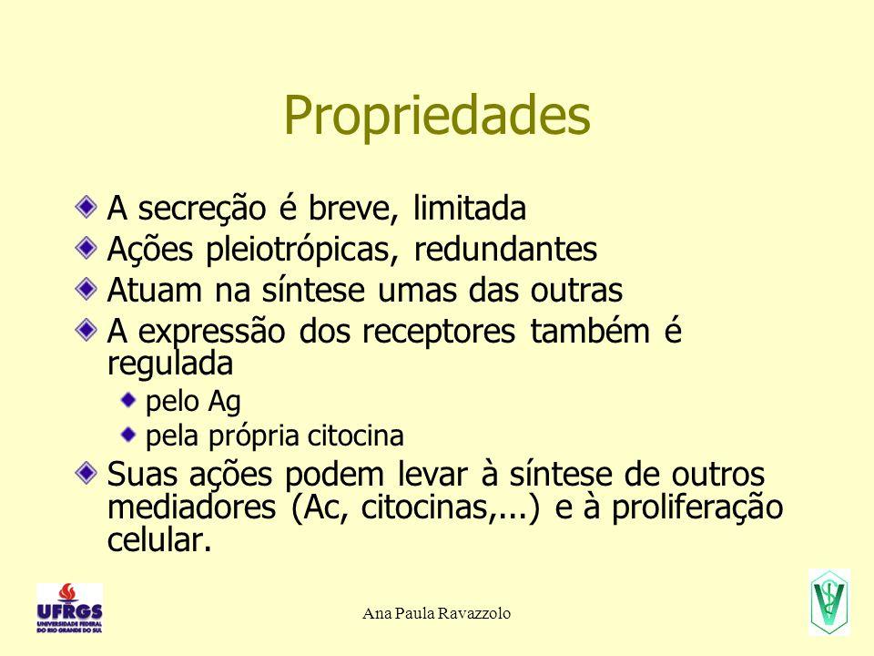 Ana Paula Ravazzolo Citocinas da Imunidade Adaptativa IFN-  - interferon  LTh (Th1), LTc, NK ativação de M , troca de classes (subclasses de IgG como opsoninas e C'), ↑ expressão de MHC I e II, ↑ do processamento e apresentação do Ag TGF-  LT, M  inibição de LT, de M , da proliferação de LB, ↑ produção de IgA LT – linfotoxina LT recrutamento e ativação de neutrófilos IL-13 – interleucina 13 LTh (Th2) troca de classes (IgE), ↑ produção de muco pelas cél.