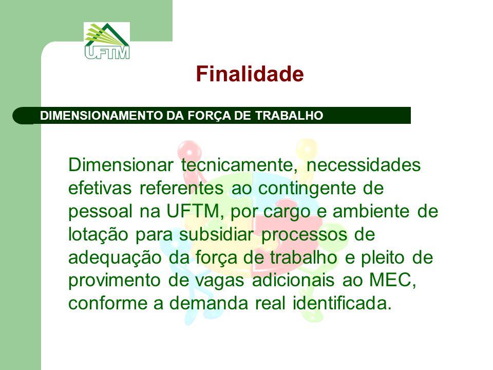 Finalidade Dimensionar tecnicamente, necessidades efetivas referentes ao contingente de pessoal na UFTM, por cargo e ambiente de lotação para subsidiar processos de adequação da força de trabalho e pleito de provimento de vagas adicionais ao MEC, conforme a demanda real identificada.