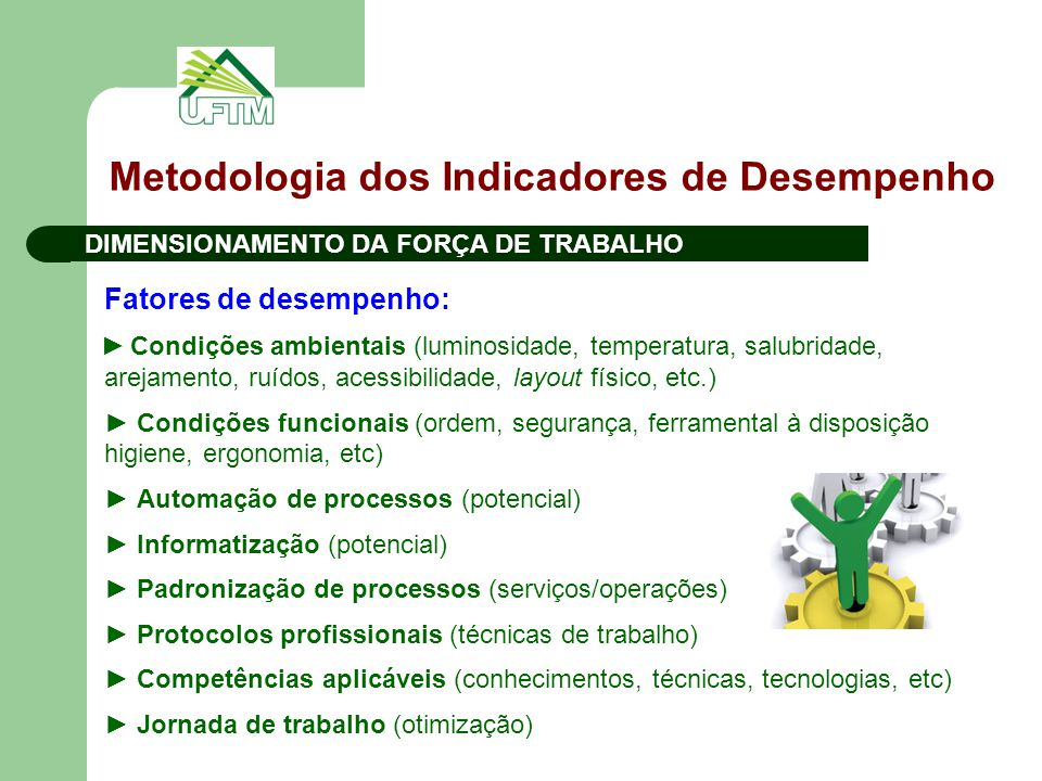 Metodologia dos Indicadores de Desempenho DIMENSIONAMENTO DA FORÇA DE TRABALHO Fatores de desempenho: ► Condições ambientais (luminosidade, temperatur
