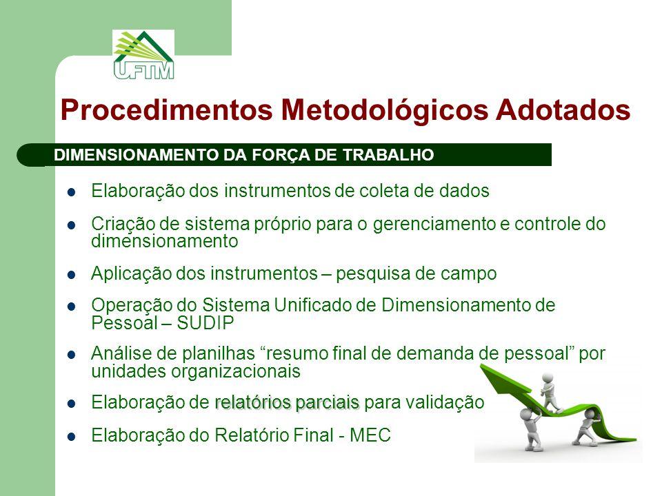 Procedimentos Metodológicos Adotados Elaboração dos instrumentos de coleta de dados Criação de sistema próprio para o gerenciamento e controle do dime