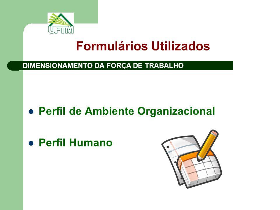 Formulários Utilizados Perfil de Ambiente Organizacional Perfil Humano DIMENSIONAMENTO DA FORÇA DE TRABALHO