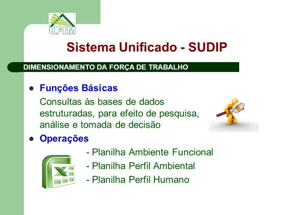 Sistema Unificado - SUDIP Funções Básicas Consultas às bases de dados estruturadas, para efeito de pesquisa, análise e tomada de decisão Operações - P