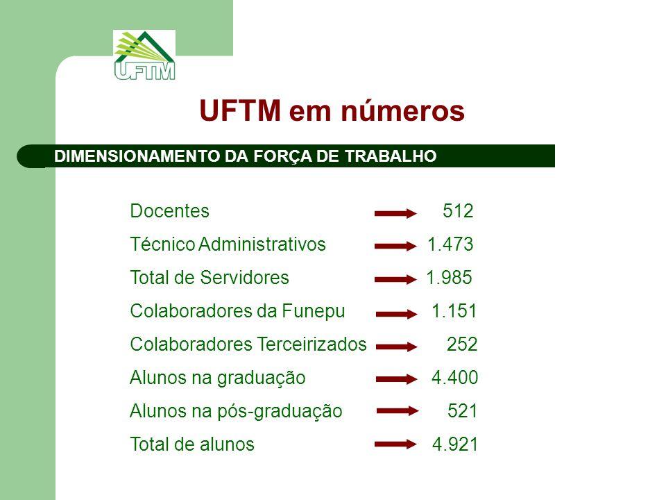DIMENSIONAMENTO DA FORÇA DE TRABALHO UFTM em números Docentes 512 Técnico Administrativos 1.473 Total de Servidores 1.985 Colaboradores da Funepu 1.15
