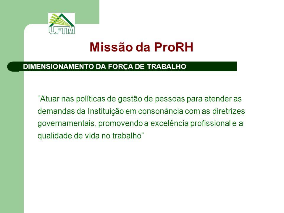 Missão da ProRH Atuar nas políticas de gestão de pessoas para atender as demandas da Instituição em consonância com as diretrizes governamentais, promovendo a excelência profissional e a qualidade de vida no trabalho