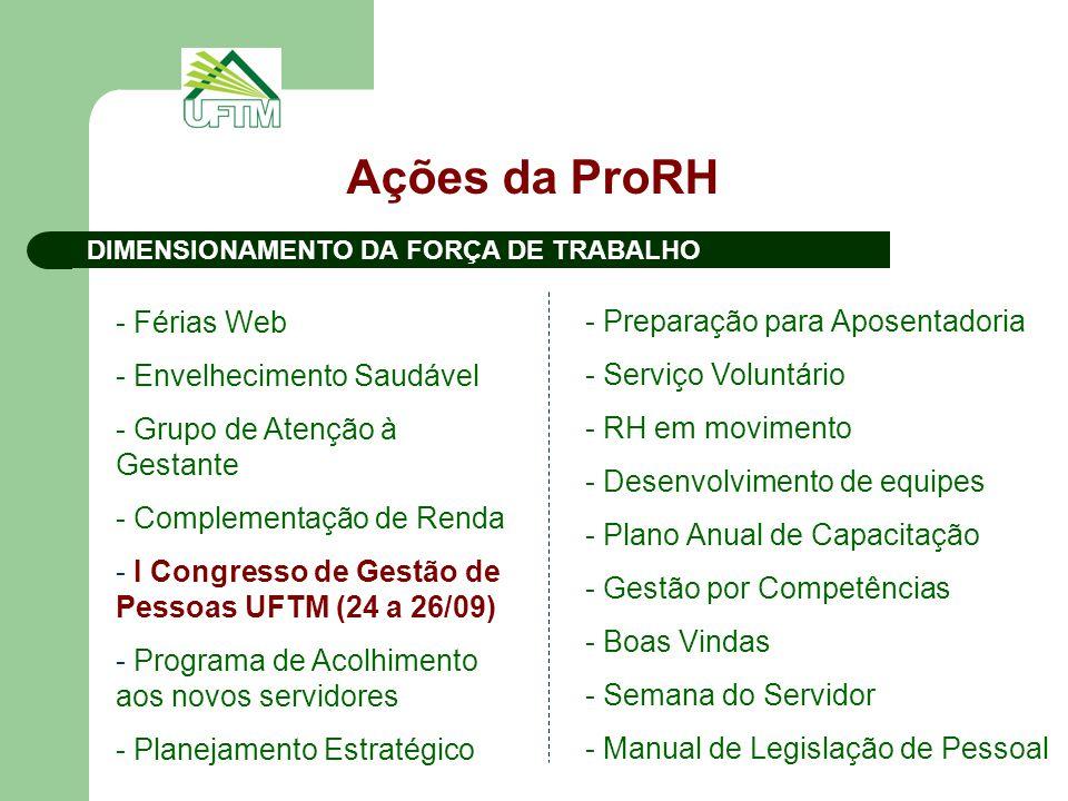 Ações da ProRH DIMENSIONAMENTO DA FORÇA DE TRABALHO - Férias Web - Envelhecimento Saudável - Grupo de Atenção à Gestante - Complementação de Renda - I