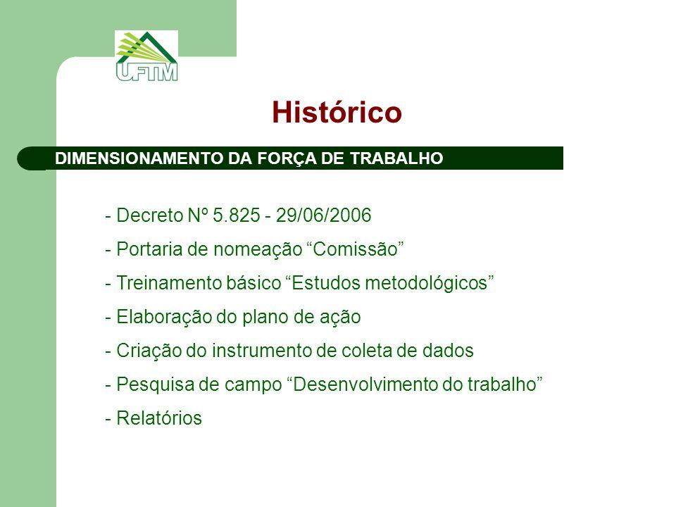 """Histórico DIMENSIONAMENTO DA FORÇA DE TRABALHO - Decreto Nº 5.825 - 29/06/2006 - Portaria de nomeação """"Comissão"""" - Treinamento básico """"Estudos metodol"""