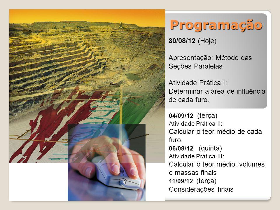 Programação 30/08/12 (Hoje) Apresentação: Método das Seções Paralelas Atividade Prática I: Determinar a área de influência de cada furo. 04/09/12 (ter