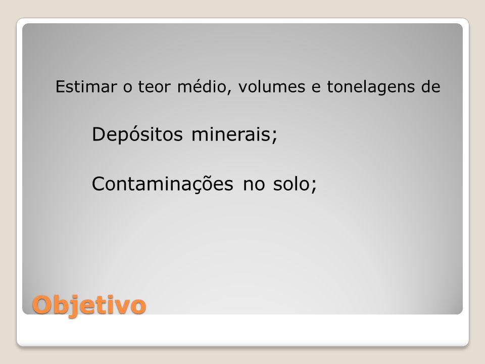 Objetivo Estimar o teor médio, volumes e tonelagens de Depósitos minerais; Contaminações no solo;
