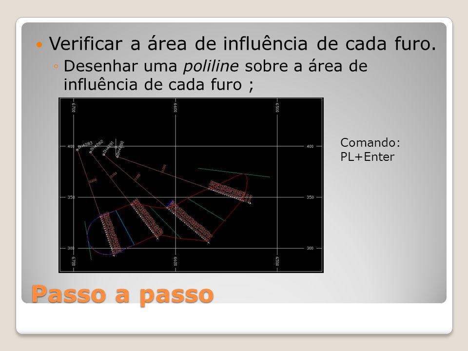 Passo a passo Verificar a área de influência de cada furo. ◦Desenhar uma poliline sobre a área de influência de cada furo ; Comando: PL+Enter