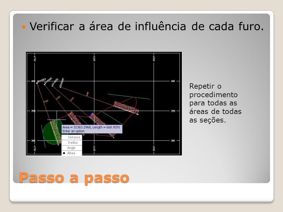 Passo a passo Verificar a área de influência de cada furo. Repetir o procedimento para todas as áreas de todas as seções.