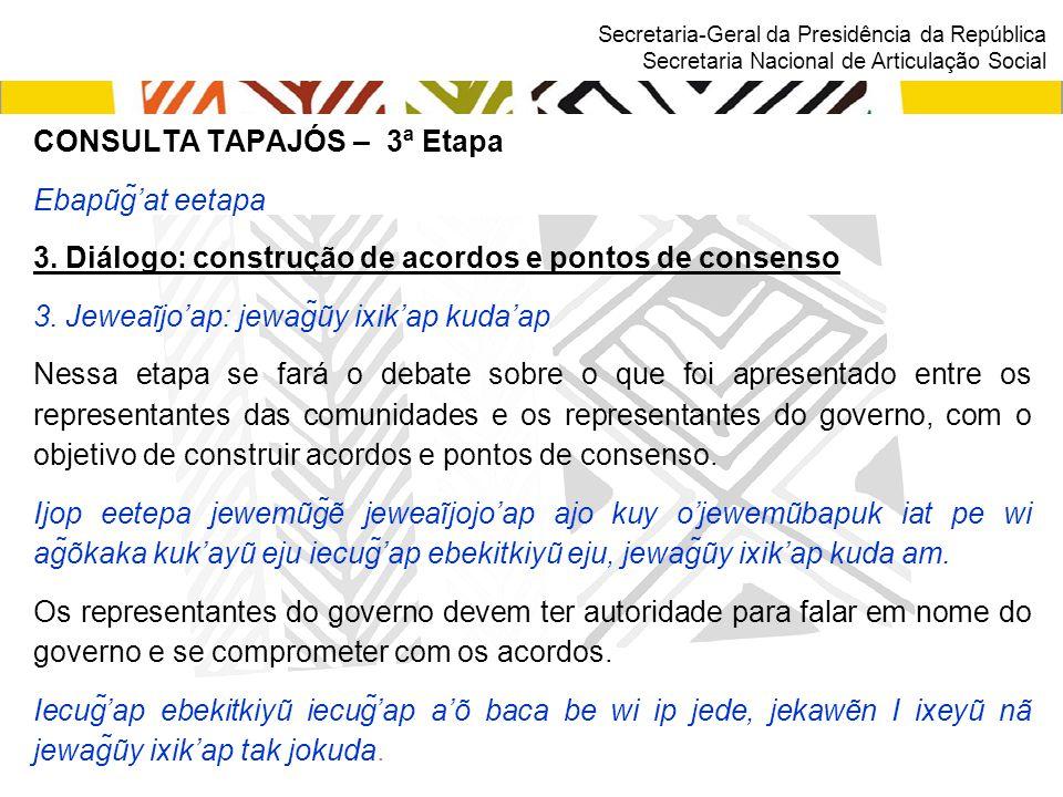 Secretaria-Geral da Presidência da República Secretaria Nacional de Articulação Social CONSULTA TAPAJÓS – 3ª Etapa Ebapũg̃'at eetapa 3. Diálogo: cons