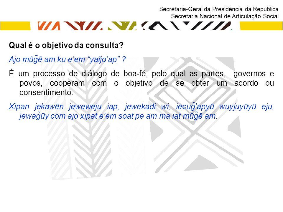 """Secretaria-Geral da Presidência da República Secretaria Nacional de Articulação Social Qual é o objetivo da consulta? Ajo mũg̃ẽ am ku e'em """"yaĩjo'ap"""""""