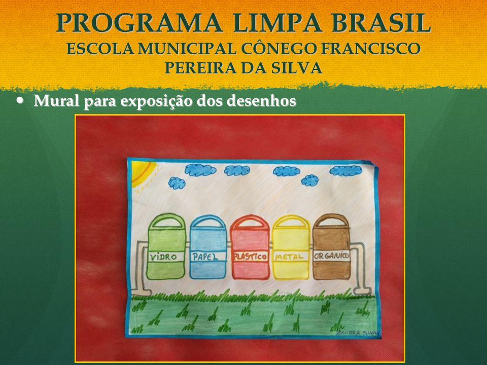 Mural para exposição dos desenhos Mural para exposição dos desenhos PROGRAMA LIMPA BRASIL ESCOLA MUNICIPAL CÔNEGO FRANCISCO PEREIRA DA SILVA