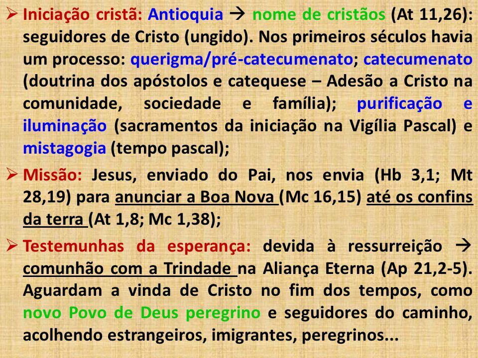  Iniciação cristã: Antioquia  nome de cristãos (At 11,26): seguidores de Cristo (ungido). Nos primeiros séculos havia um processo: querigma/pré-cate