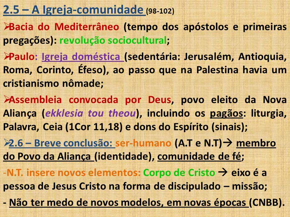 2.5 – A Igreja-comunidade (98-102)  Bacia do Mediterrâneo (tempo dos apóstolos e primeiras pregações): revolução sociocultural;  Paulo: Igreja domés