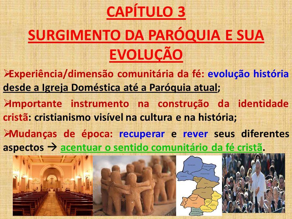 CAPÍTULO 3 SURGIMENTO DA PARÓQUIA E SUA EVOLUÇÃO  Experiência/dimensão comunitária da fé: evolução história desde a Igreja Doméstica até a Paróquia a