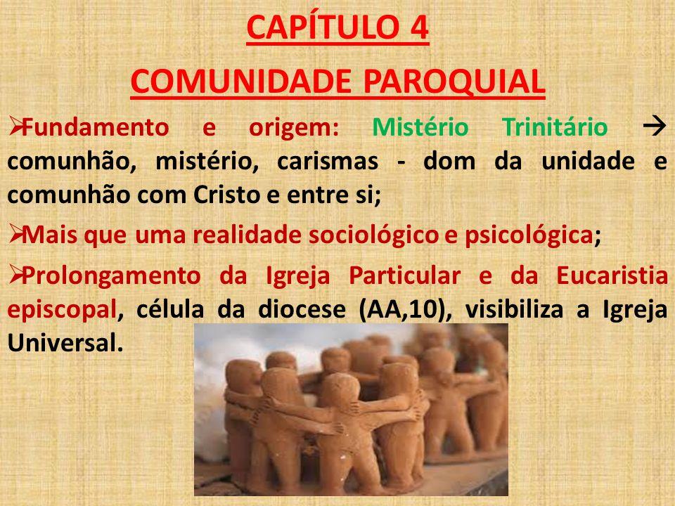 CAPÍTULO 4 COMUNIDADE PAROQUIAL  Fundamento e origem: Mistério Trinitário  comunhão, mistério, carismas - dom da unidade e comunhão com Cristo e ent