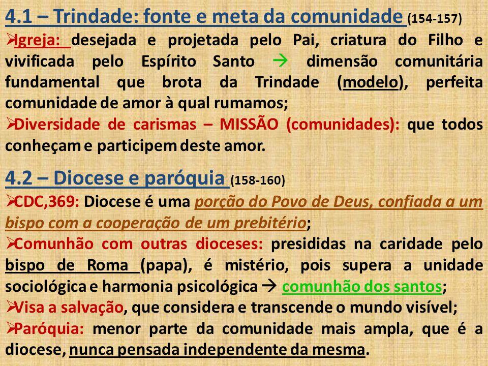 4.3 – Definição de paróquia (161-167)  Bíblia grega  1)Paroikía (subst): estrangeiro, migrante; 2) Paroikein (verbo): viver junto, habitar nas proximidades, viver em casa alheia, em peregrinação; 3) Paroikós (subst/adj): morada, habitação em pátria estrangeira, vizinho, próximo, que habita junto.