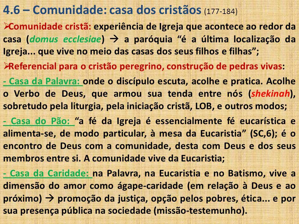 4.6 – Comunidade: casa dos cristãos (177-184)  Comunidade cristã: experiência de Igreja que acontece ao redor da casa (domus ecclesiae)  a paróquia