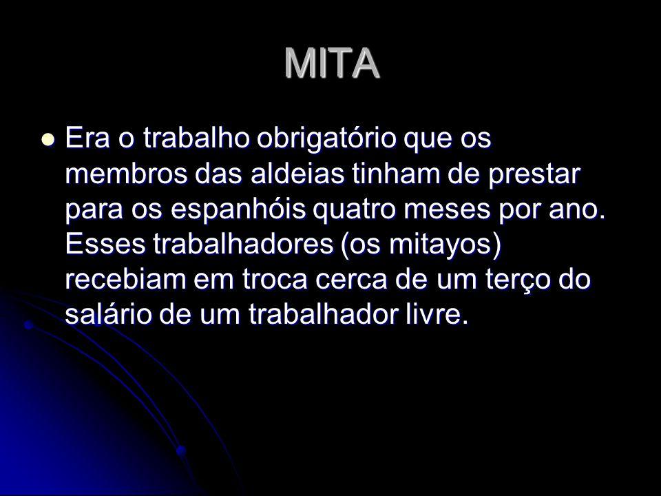 MITA Era o trabalho obrigatório que os membros das aldeias tinham de prestar para os espanhóis quatro meses por ano. Esses trabalhadores (os mitayos)