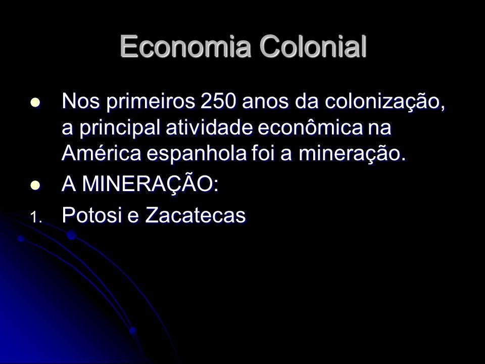 Economia Colonial Nos primeiros 250 anos da colonização, a principal atividade econômica na América espanhola foi a mineração. Nos primeiros 250 anos
