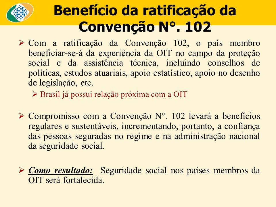 Benefício da ratificação da Convenção N°. 102  Com a ratificação da Convenção 102, o país membro beneficiar-se-á da experiência da OIT no campo da pr